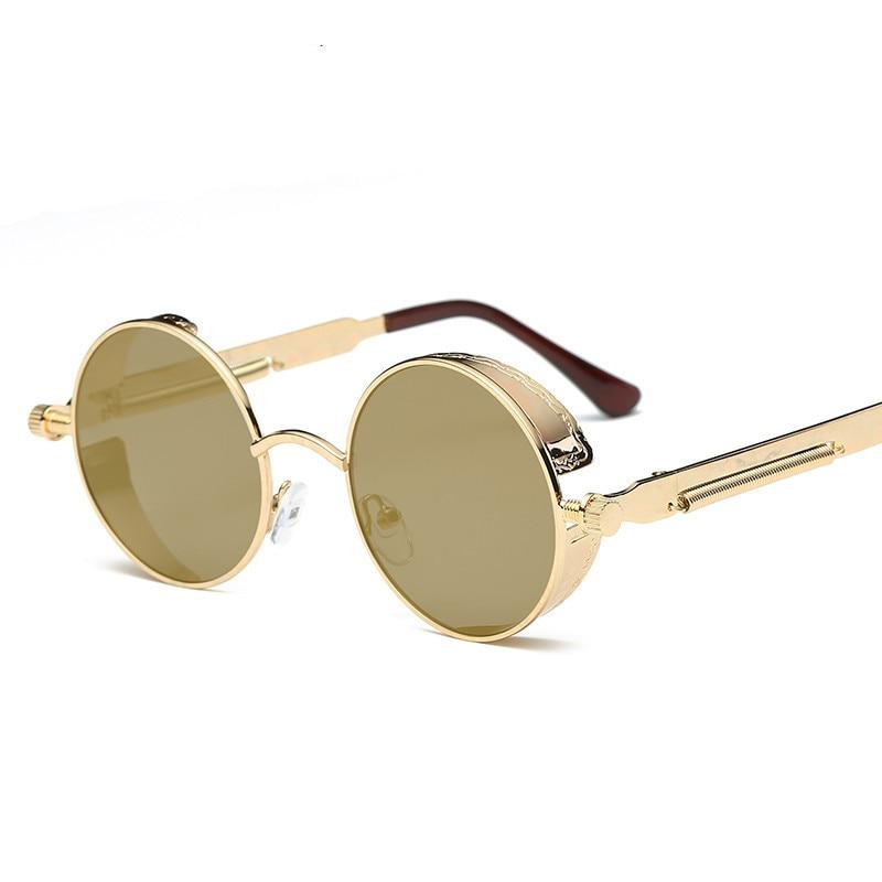 Retro Steampunk Sunglasses Round Designer Steam Punk Metal Shields Sunglasses Men Women UV400 Gafas de Sol in Women 39 s Sunglasses from Apparel Accessories