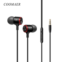 hot deal buy metal stereo bass 3.5 mm wired earphone with microphone in-ear earphones headphones for phone computer iphone huawei xiaomi