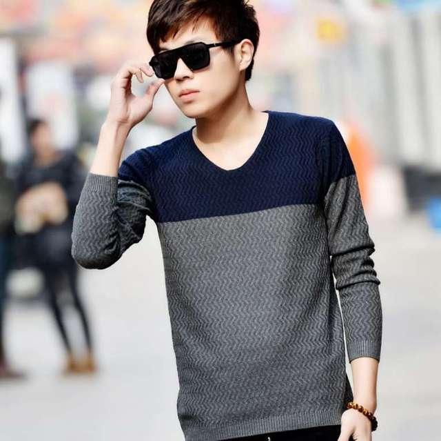 #1308 V cuello Primavera 2016 Delgada para hombre Delgado suéter Pulover Tire homme hombre Moda Pullover hombres Sweter sueter masculino de punto