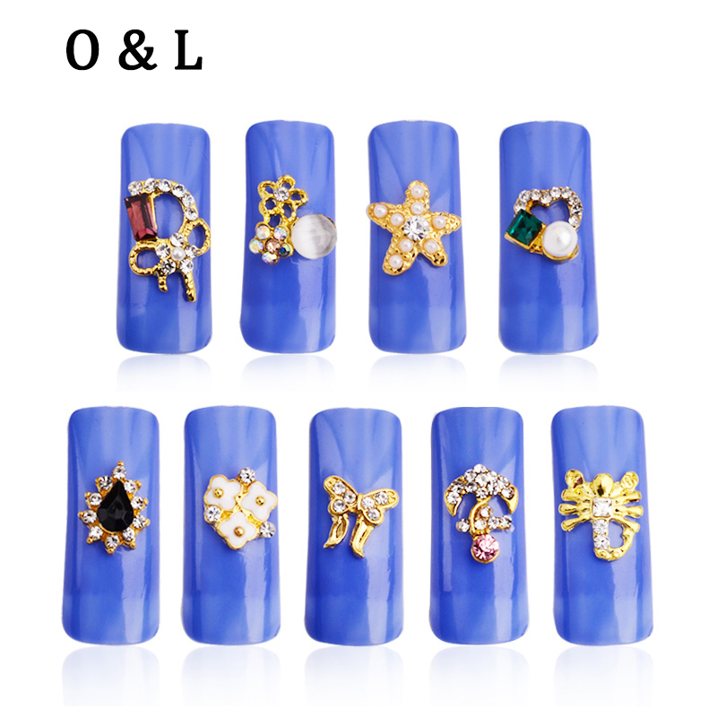 New 10pcs Gold Butterfly Anchor Charm Designs font b Nail b font Decorations Glitter Colorful Alloy