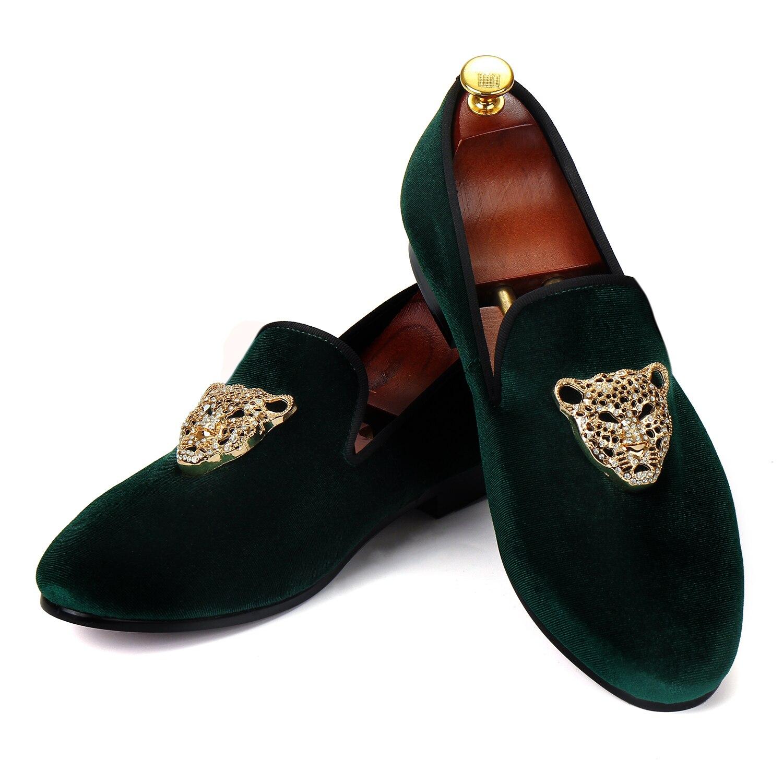 Harpelunde ผู้ชายรองเท้าแต่งงาน Handmade กำมะหยี่สีเขียว Loafer รองเท้าแตะสัตว์หัวเข็มขัดขนาด 6 14-ใน รองเท้าทางการ จาก รองเท้า บน   1