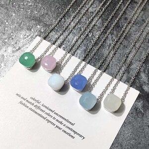 Image 3 - SLJELY collier à facettes carrées en cristal et en pierre, multicolore, de marque célèbre, bijou de fête pour femmes et filles à la mode