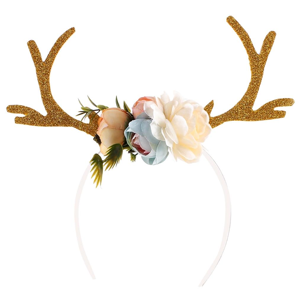 Girl Christmas Reindeer Deer Antler Costume Lace Ear Party Hair headband Prop