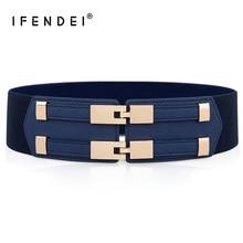 IFENDEI Elastic White Belt Blue Corset For Womens Dress Adjustable Double Buckle Cummerbunds Ladies Black