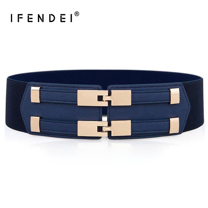 IFENDEI Elastic White   Belt   Blue Corset   Belt   For Women's Dress Adjustable Double Buckle Cummerbunds Ladies Black Elastic Corset