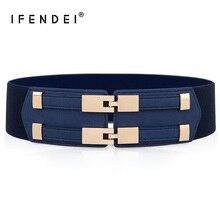 IFENDEI Elastic White Belt Blue Corset Belt For Women's Dres