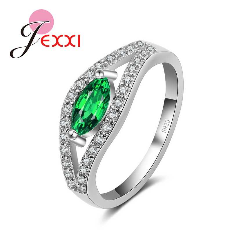 Высококачественные кольца из стерлингового серебра 925 пробы с цветным имитацией Изумрудного пальца элегантный бренд браслет с цирконием австрийский кристалл для женщин