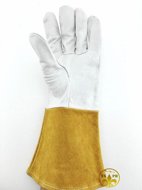 2016 новый glovesAP1 сварки полный длинные кожаные с длинным рукавом работа glovesTIG защиты большой код высокое качество gloves35cm кожа