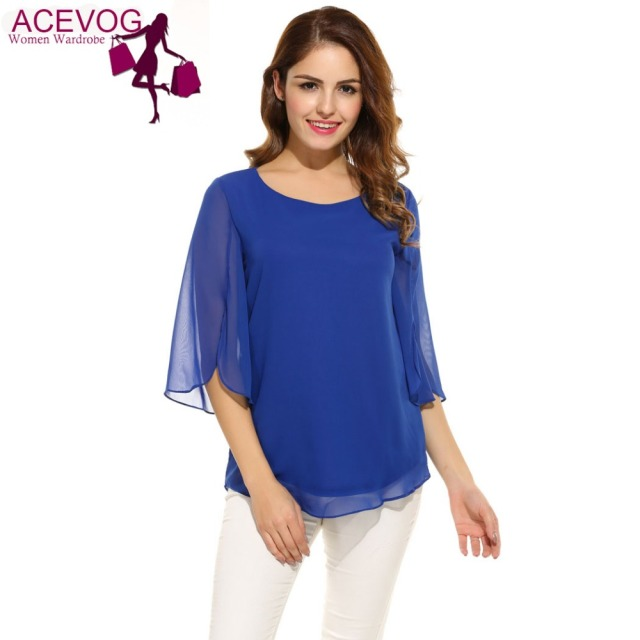 ACEVOG Spring Casual Flare Sleeve Blouse Women Casual 3/4 Sleeve O Neck Solid Loose Pullover Chiffon Blouse 3 Colors