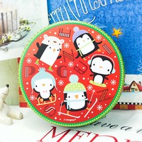 Christmas Large Drum Container Cookie Candy Jar Christmas Tree Cubs Penguin Storage Tin Box