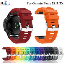 цена 26 22 20MM Watchband for Garmin Fenix 5X 5 5S Plus 3 3HR Forerunner 935 Watch Quick Release Silicone Easyfit Wrist Band Strap