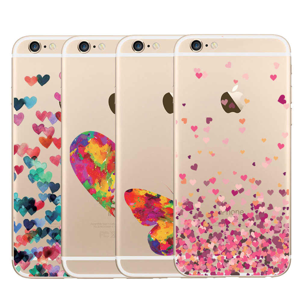 Phone Case Cover For iPhone 7 Plus 8 Plus 6 6s Plus 5 5s SE Beautiful Butterfly Lovely Heart Design Back Covers For iPhone Funda