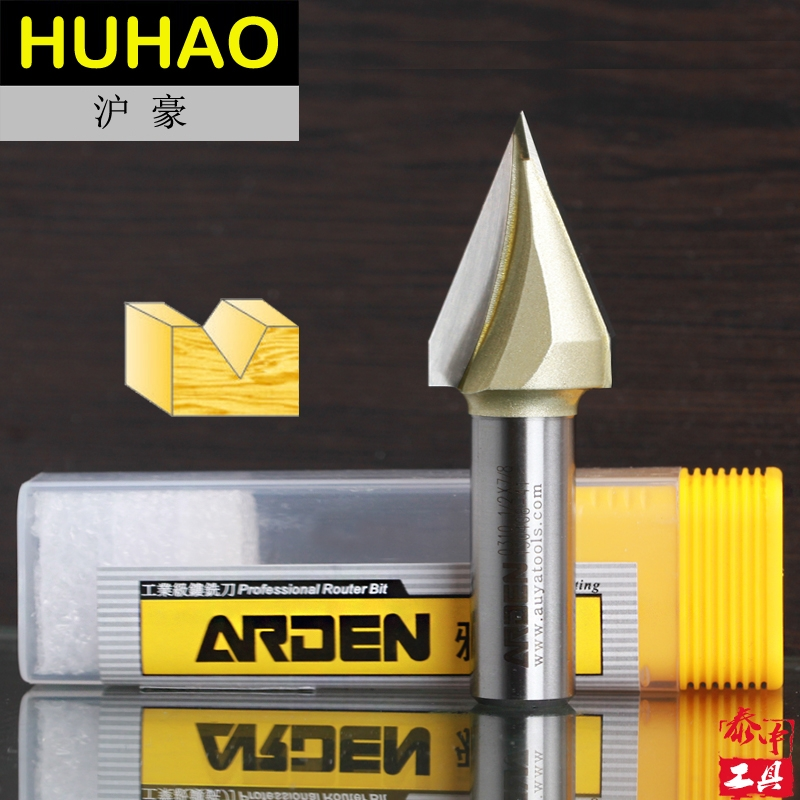 Woodworking Tool Tungsten Carbide V  Groove Bit Arden Router Bit - 1/4*1/2 - 1/4 Shank - Arden A0310014 high grade carbide alloy 1 2 shank 2 1 4 dia bottom cleaning router bit woodworking milling cutter for mdf wood 55mm mayitr