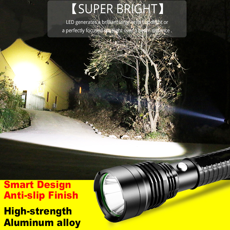 Купить с кэшбэком 28000Lumens Super Bright LED Tactical Flashlight Rechargeable Waterproof Linternas Torch Aluminum Alloy by 1*18650 or 3*AAA