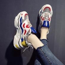 2020 Phụ Nữ Platform Chunky Giày Cao 5 Cm Dây Buộc Giày Vulcanize Giày Sang Trọng Thiết Kế Cũ Bố Nữ Thời Trang giày Sneakers