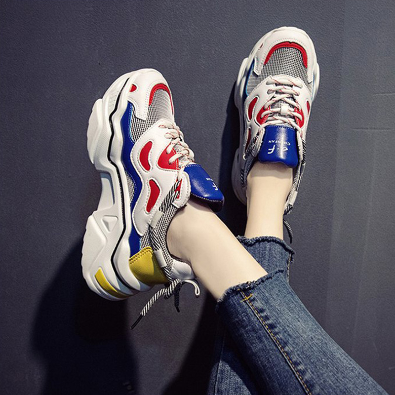 2020 Women Platform Chunky Sneakers 5cm High Lace-up Casual Vulcanize Shoes Luxury Designer Old Dad Female Fashion Sneakers