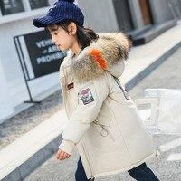 Children Jackets Girls Long Coats Thick Winter Kids Outerwear Big Fur Collar Hooded Coat Cotton Padded Girls Snowsuit TZ313