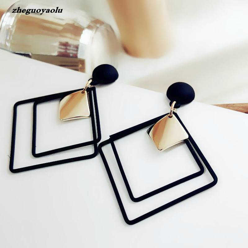 New Minimalist Style Cool Black Alloy Square Metal Plate Pendant Fashion Earrings Women's Jewelry Orecchini Statement Earrings