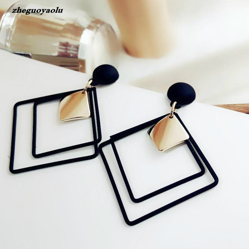 New Minimalist Style Cool Black Alloy Square Metal Plate Pendant Fashion Earrings Women's Jewelry Orecchini Statement Earrings