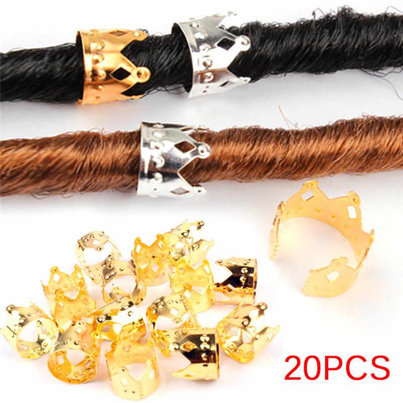 20 шт. регулируемые клипсы для волос застежка-кольцо трубка золото серебро ювелирные изделия металлические волосы оплетка дредлок Бусины Корона выдалбливают дизайн