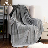 Naturelife Gradient Color Flannel Blanket Coral Plaid For Sofa Throw Travel Manta Soft Blanket For Beds