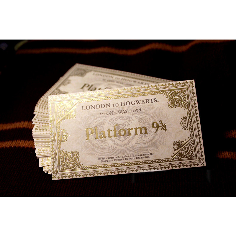 100pcs Pack for Harry Movie Wizarding World Hogwart London Express Train Ticket Golden Stamping Quality Gifts
