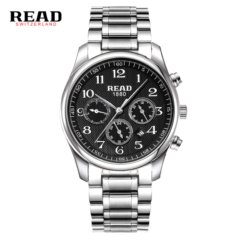 лучшая цена READ watch Men's watch Swiss brand multi-function sports men's watch fashion waterproof quartz watch Week Black black belt 6082