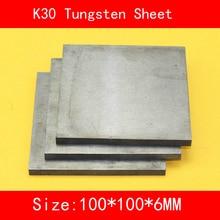 6*100*100mm Tungsten Sheet Grade K30 YG8 44A K1 VC1 H10F HX G3 THR W Tungsten Plate ISO Certificate 3 100 100 tungsten copper alloy sheet w80cu20 w80 plate spot welding electrode packaging material iso certificate free shipping