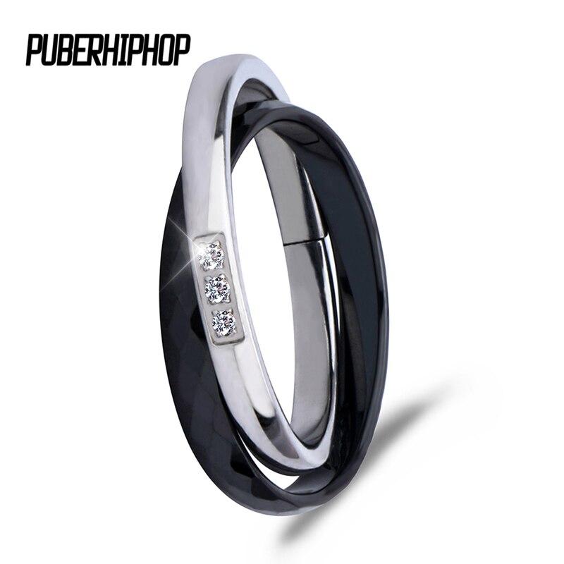 2017 חדש צלב קרמיקה טבעות שחור לבן כפול נשים טבעות לנשים ייחודי עיצוב אופנה נירוסטה כסף טבעת עבור מתנה