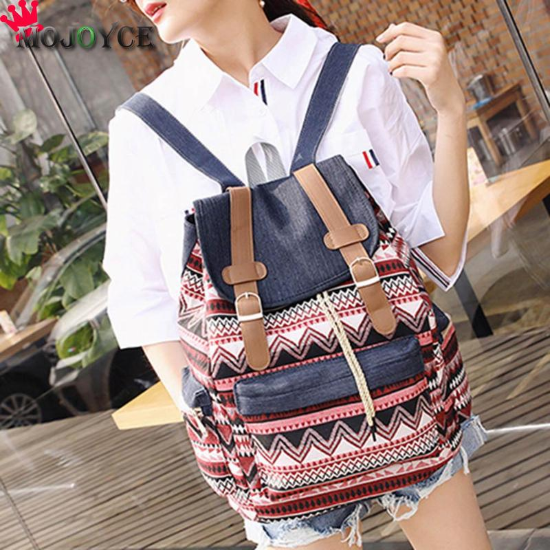 New National Style Drawstring Casual Women Print Backpack Canvas Teenagers Shoulder Schoolbags Flip Large Capacity Student drawstring color block graphic print cropped joggers
