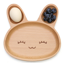 Niedlichen Kaninchen Auto Schwein Elefant Futternapf für Kinder Baby Holz Vorspeise Platte 3 Fach Abendessen Platte Tablett für Kinder