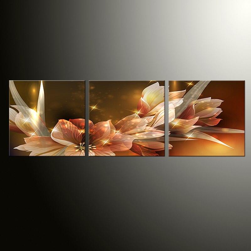 Obrazy 3 s (rám) Žlutá orchidej Obraz na plátně na stěně obývacího pokoje Nástěnný modul Obraz Nástěnná malba Umění Cuadros Plakát