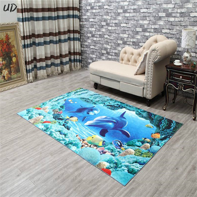Dolphin Welcome Floor Mats Flower Fish 3D Printing Bathroom Kitchen Carpets House Doormats for Living Room Anti-Slip Tapete Rug