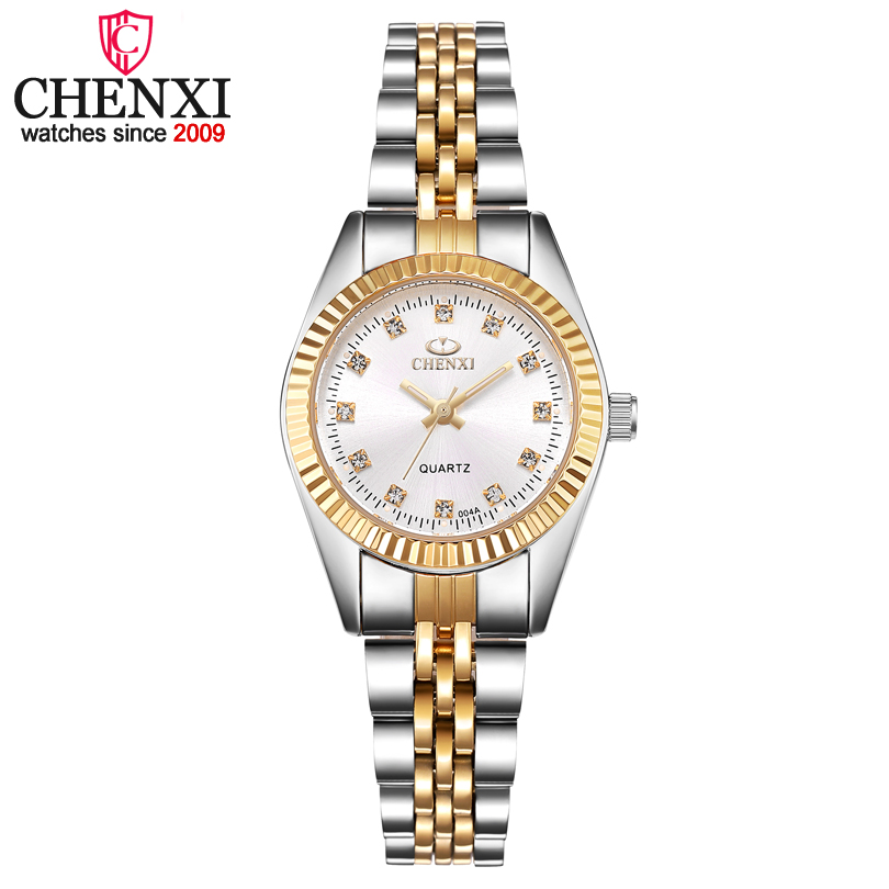 Chenxi feminino ouro & prata clássico relógio de quartzo feminino elegante relógio de luxo presente relógios senhoras relógio de pulso à prova dwaterproof água