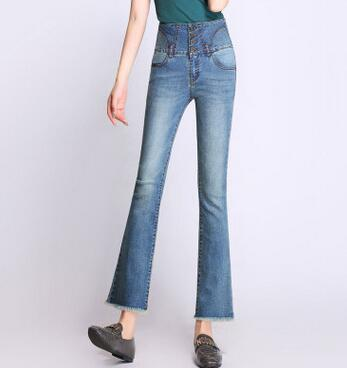 Flare pants for women plus size cotton blend casual capris jeans denim high waist tassel button spring autumn summer yyf0708