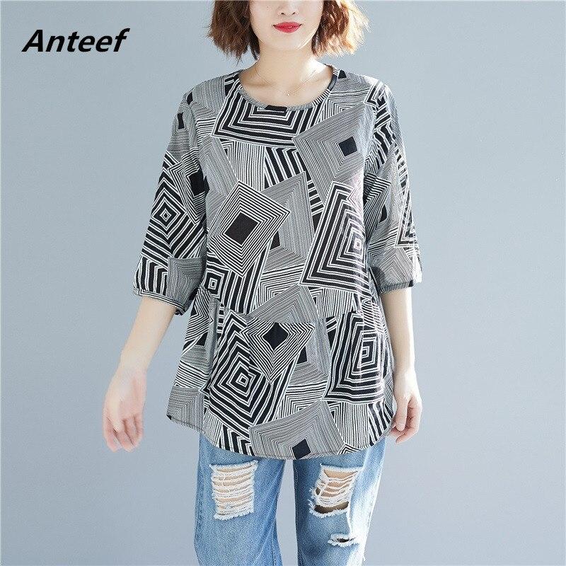 cotton linen vintage print korean clothes plus size casual ...
