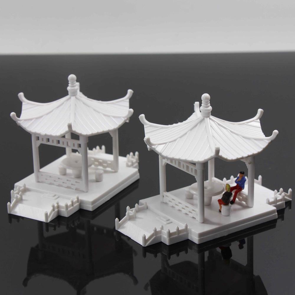 GY02075 2Stk Pavillon Modell Gloriette Chinesischer Bau Bildungs 1:75 00
