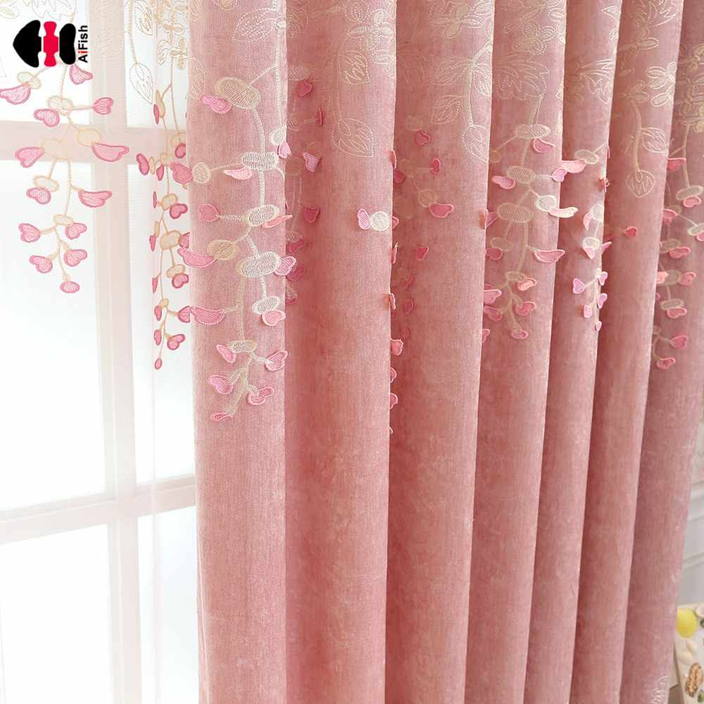 Luxury Royal Chenille Curtains for Bedroom Three-Dimensional Embossed Pink Floral Blackout Window Cortinas wp189C