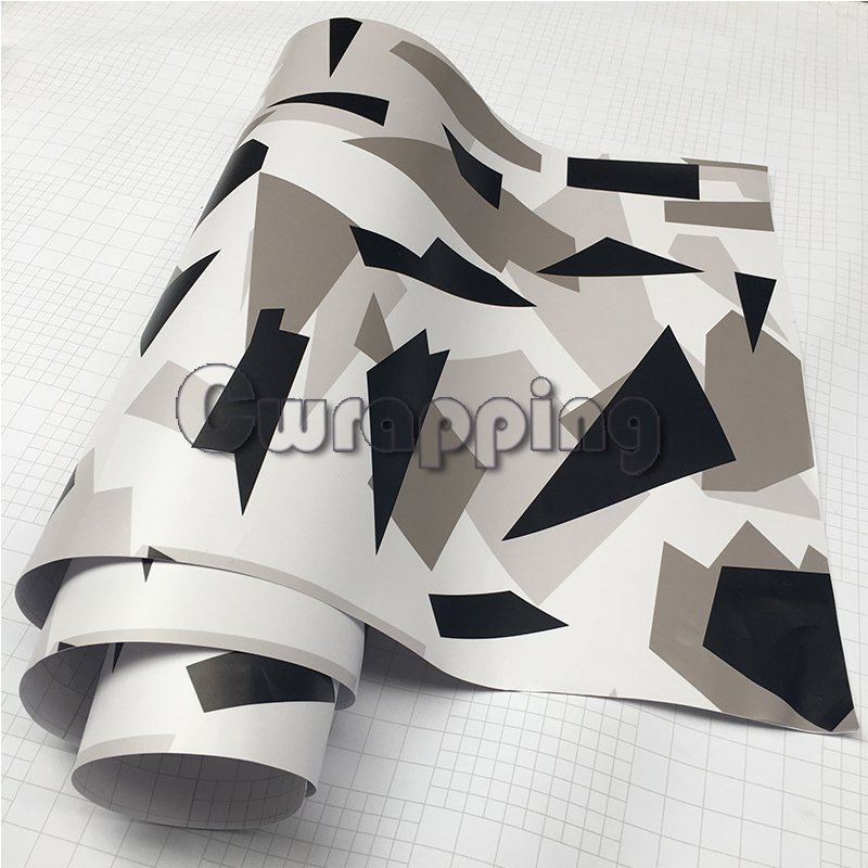 Black White Arctic Camouflage Vinyl Car Wraps Adhesive PVC Vehicle Hood Roof Motorcycle Scooter Decal Sticker Sheet Rolls partol black car roof rack cross bars roof luggage carrier cargo boxes bike rack 45kg 100lbs for honda pilot 2013 2014 2015