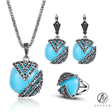 Vintage Geometric Jewelry Set Fashion Women Antique Silver Color Jewelry Resin Square Pendant Necklace Bridal Wedding Jewelry20%