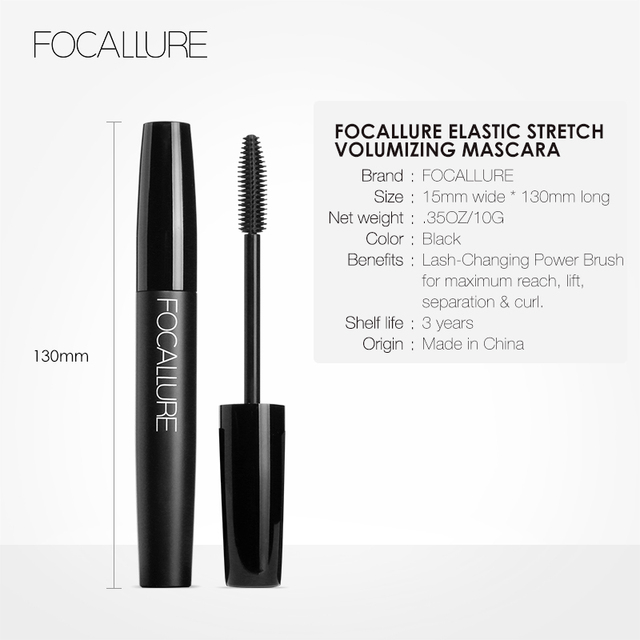 Professional Volume Curled Lashes Black Mascare Waterproof Curling Tick Eyelash Lengtheing Eye Makeup Mascara by Focallure 4