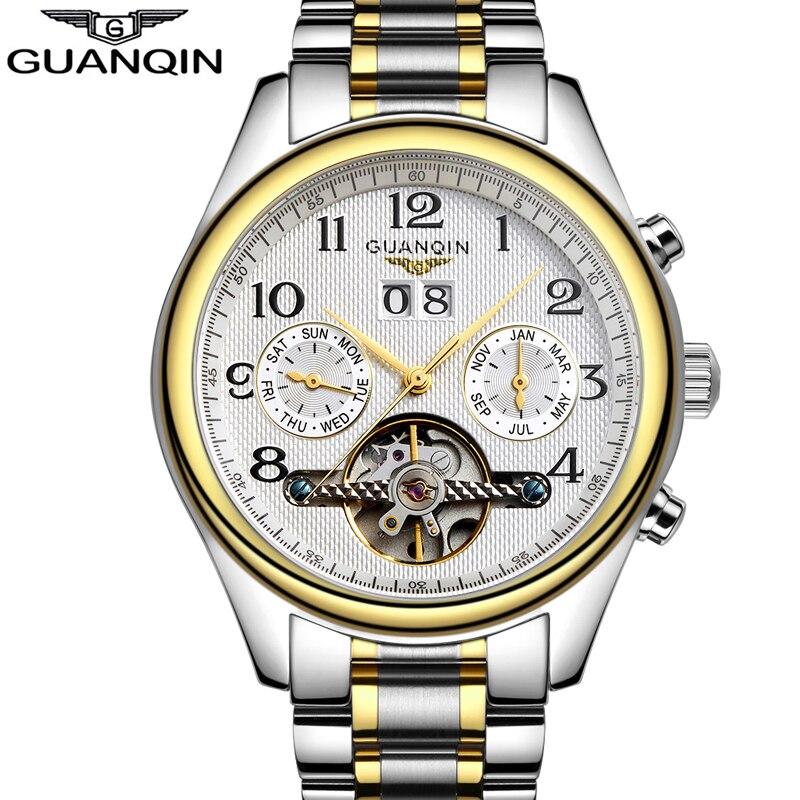 Luxe Montres hommes Top marque D'origine GUANQIN Saphir Mécanique Étanche mécanique Automatique Montres mode hommes montre-bracelet