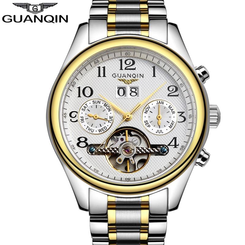Cengiz Han orijinal izle - Luxury Watches men Top brand Original GUANQIN Sapphire Mechanical Waterproof Auto mechanical Watches fashion men wristwatch