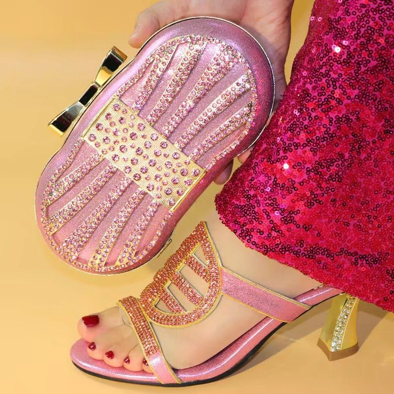 Fashionable pink women high heel shoes and nice bag with rhinestone decoration african pumps match handbag set V217,heel 10CMFashionable pink women high heel shoes and nice bag with rhinestone decoration african pumps match handbag set V217,heel 10CM