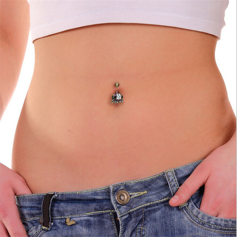 Us 2 06 20 Off Animal Antique Silver Dangle Belly Button Ring Double Piercing Barbell Surgical Steel Elephant Navel Piercing Sexy Body Jewelry In