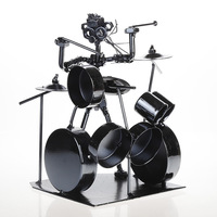 Europe Simple Jazz Drummer Figurines Ornaments Metal Black Musician Drum Band Decorations Iron Man Drum Creative Gift Home Decor