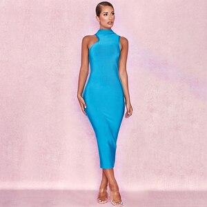 BEAUKEY Новая мода с высоким, плотно облегающим шею воротником, без рукавов, до середины икры, элегантное облегающее Бандажное платье 2018 женски...