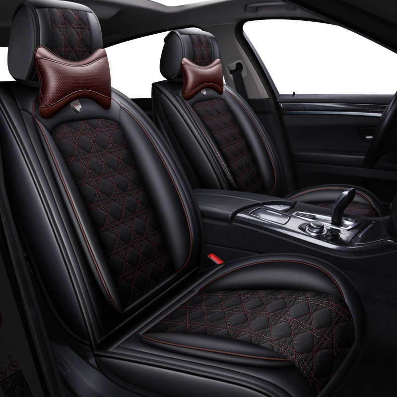 Leather&Flax Universal car seat cover for volkswagen vw <font><b>jetta</b></font> mk5 6 mk6 touareg of 2010 2009 <font><b>2008</b></font> 2007 image