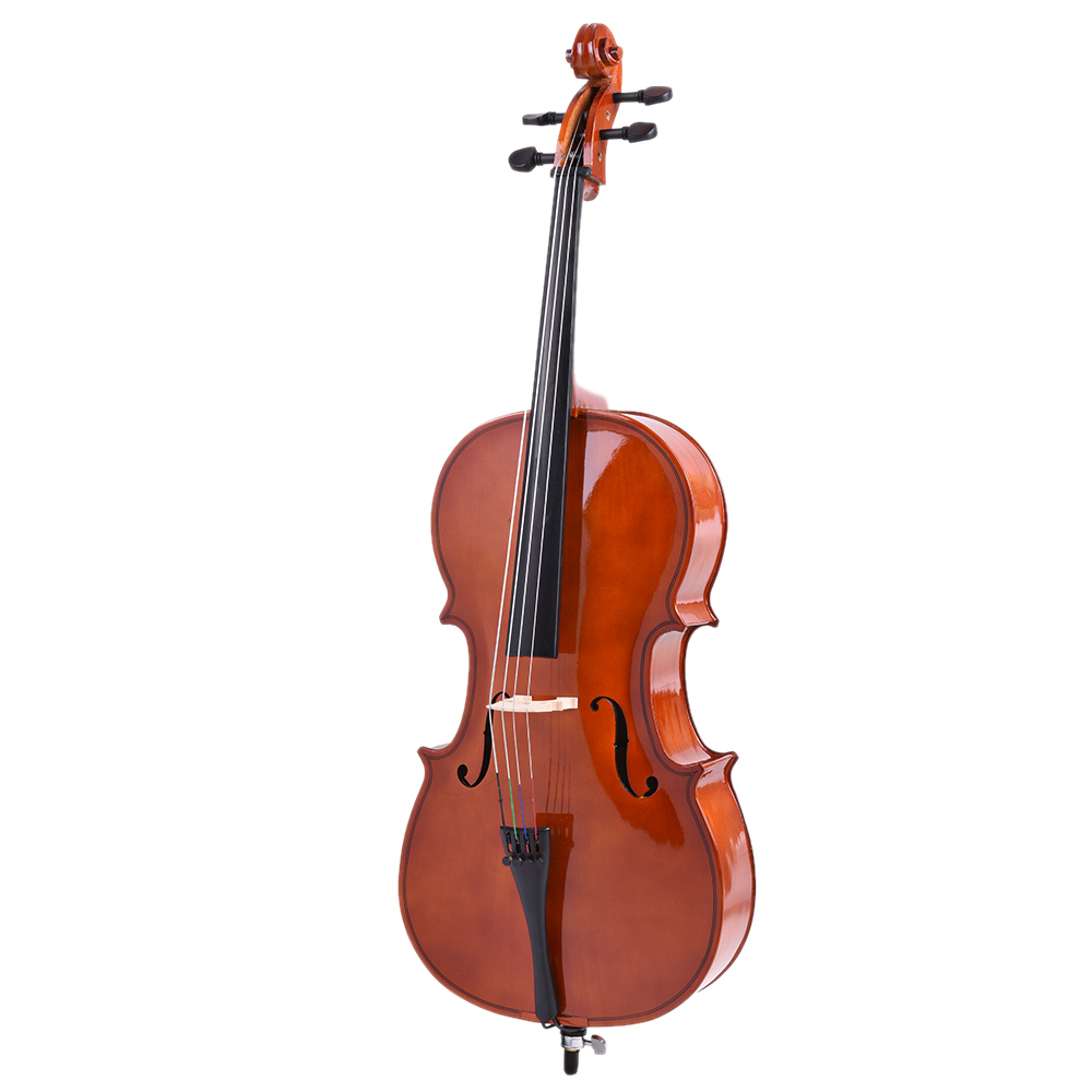 New 1 2 Cello Solid Wood Gloss Finish Basswood Face Board with Bow Rosin Carrying Bag