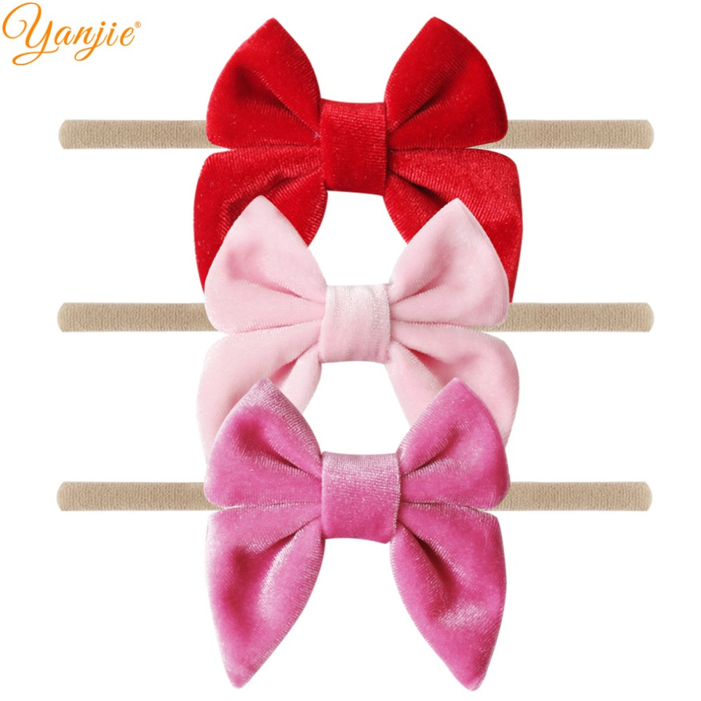 Image 4 - 12pcs/lot 3'' Velvet Bow Nylon Headbands For Girls Smooth Velvet Hair Bow Elastic Skinny Khaki Nylon Hair Band Hair Accessories-in Hair Accessories from Mother & Kids